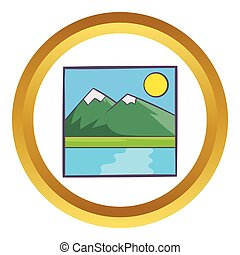 Drawing mountain landscape vector icon