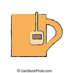 drawing mug tea hot break office work