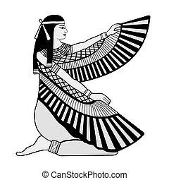 drawing., national, ægyptisk