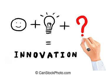 Drawing necessary thing for innovation - Businessman drawing...