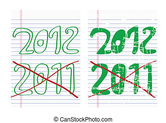 Drawing new year icon on paper