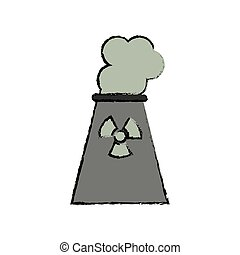 drawing nuclear power plant tower energy