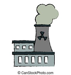 drawing nuclear power station energy pollution
