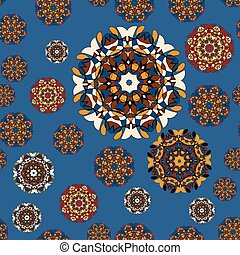Drawing of a abstract vector round mandala seamless. Circle pattern on blue background