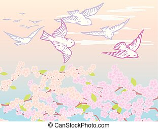 Drawing of a birds flying over flowering spring trees