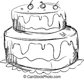 Drawing of a birthday cake, illustration, vector on white background.