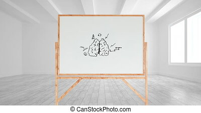 Drawing of a brain and different arrows in a white board