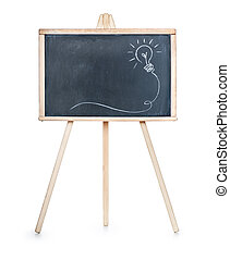 Drawing of a bulb idea on black board