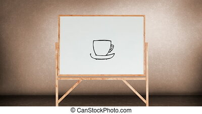 Drawing of a cup of coffee on a white board