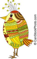 Drawing of a cute cartoon bird
