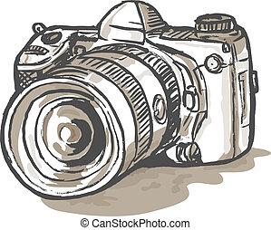 drawing of a digital SLR camera - hand sketch drawing...