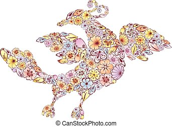 Drawing of a fabulous floral bird