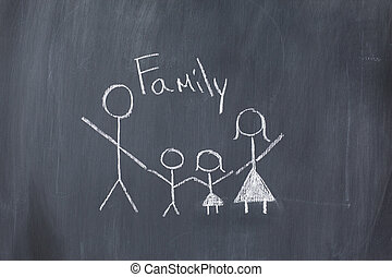 Drawing of a family on a blackboard