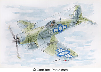 Drawing of a fighter Vought F4U-1A Corsair (Royal Navy ...