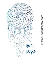 Drawing of a floral mandala in ethnic tribal stile with dreamcatcher, feathers, black line art on white background.