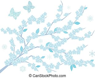Drawing of a frozen flowering branch of apple tree with snowflakes and butterflies