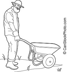 Drawing of a gardener with a wheelbarrow