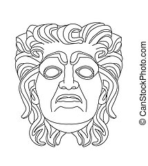 greek theatrical mask of an old man - drawing of a greek...