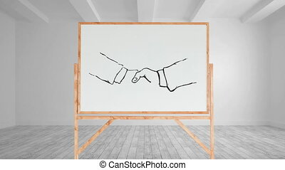 Drawing of a handshake on a blank canvas