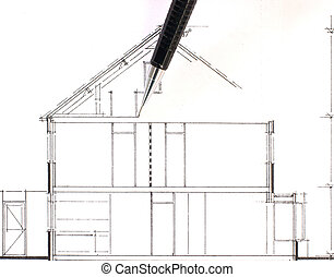 Drawing of a house, in work