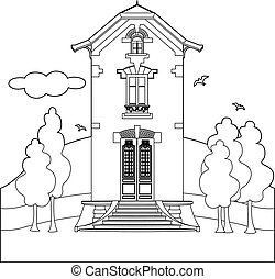 Drawing of a house with glass door - Vector illustration of...