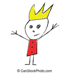 Drawing of a king and queen - Vector child drawing of ...