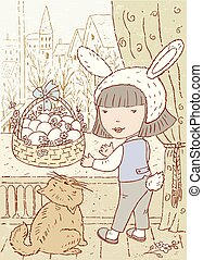 Drawing of a little girl celebrating easter