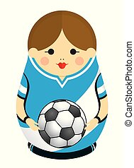 Drawing of a Matryoshka with colors of the flag of Argentina holding a soccer ball in her hands. Russian nesting doll in blue and white. Vector image
