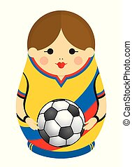 Drawing of a Matryoshka with colors of the flag of Colombia holding a soccer ball in her hands. Russian nesting doll in blue, red and yellow. Vector image