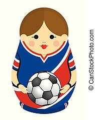 Drawing of a Matryoshka with colors of the flag of Costa Rica holding a soccer ball in her hands. Russian nesting doll in blue, red and white. Vector image