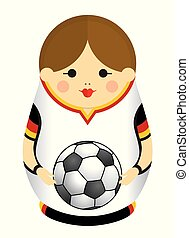 Drawing of a Matryoshka with colors of the flag of Germany holding a soccer ball in her hands. Russian nesting doll in black, red and yellow. Vector image