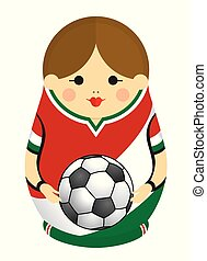 Drawing of a Matryoshka with colors of the flag of Mexico holding a soccer ball in her hands. Russian nesting doll in red, white and green. Vector image