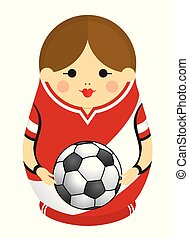Drawing of a Matryoshka with colors of the flag of Peru holding a soccer ball in her hands. Russian nesting doll in red and white. Vector image