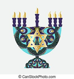 Drawing of a menorah with jewish star and round floral lace...