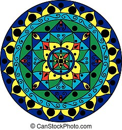 Drawing of a multicolored mandala in geometric style