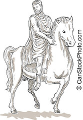 drawing of a Roman emperor general or soldier riding horse