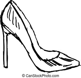 Drawing of a shoe, illustration, vector on white background.