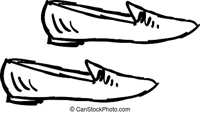 Drawing of a shoes, illustration, vector on white background.