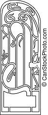 drawing of a small ironwork gate - Vector illustration of an...