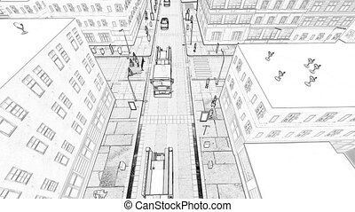 Drawing of a small town Concept of a building