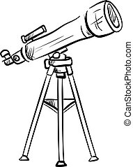 Drawing of a telescope, illustration, vector on white background.