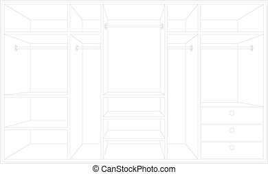Drawing of a wardrobe.  - Vector illustration, color full