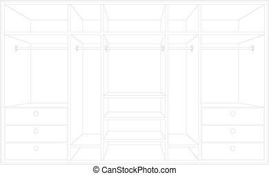 Drawing of a wardrobe.