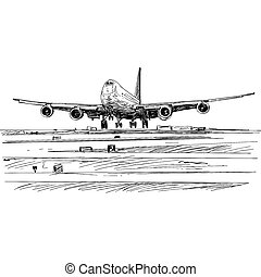 Drawing of airplane landing at the airport