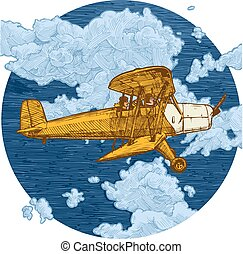 Drawing of airplane stylized as engraving