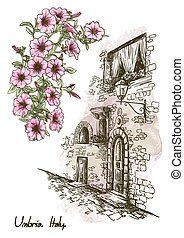 drawing of an old street in Italy and flowers - pencil...