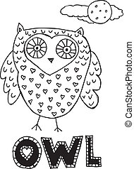 drawing of an owl. vector illustration