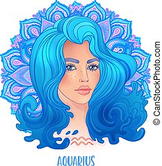 Drawing of Aquaries astrological sign as a beautiful girl over ornate mandala pattern. Zodiac vector illustration isolated on white. Future telling, horoscope.