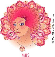Drawing of Aries astrological sign as a beautiful girl over ornate mandala pattern. Zodiac vector illustration isolated on white. Future telling, horoscope