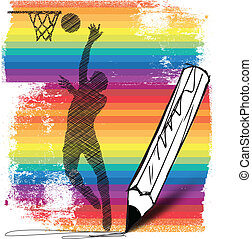 Drawing of Basketball player. Vector illustration